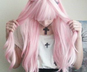 pink, hair, and pastel goth image