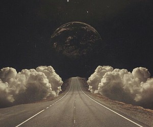 moon, clouds, and road image
