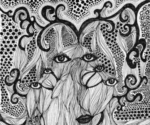 art, surreal, and black and white image
