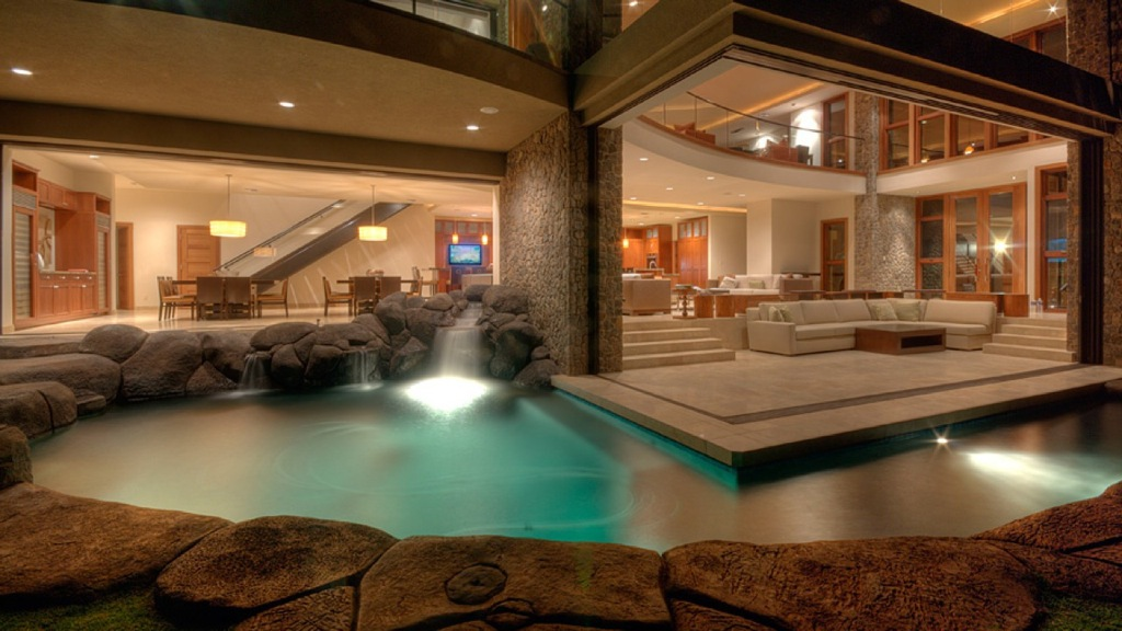 Luxury Hawaiian Style For Backyard Design With Modern Swimming Pool Complete With Light Flooring Featuring Stacked Stone Edge Inspirations Of Captivating Hawaiian House Plans Design Ideas Tropical Hawaiian House Plans Traditional Hawaiian