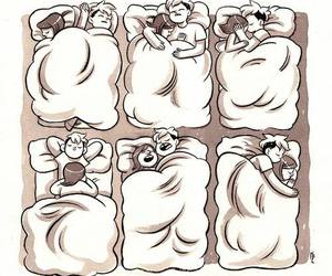 bed, love, and cartoons image