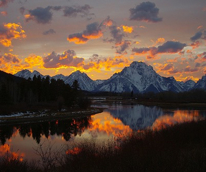mountains, landscape, and sunset image