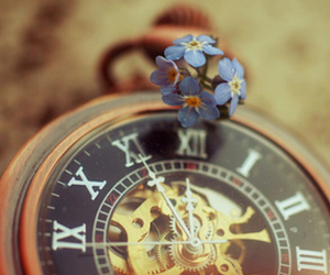 clock, flowers, and vintage image