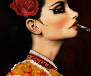 girl, cigarette, and woman image