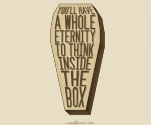 box, quote, and think image