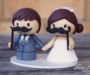 cake topper, keepsake, and moustache image