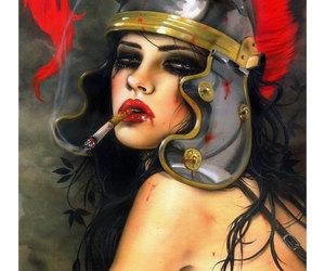 dark, girl, and painting image
