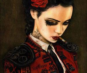 art, cigarette, and tattoo image