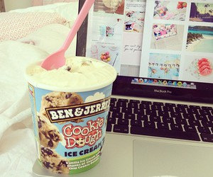 ice cream, food, and laptop image