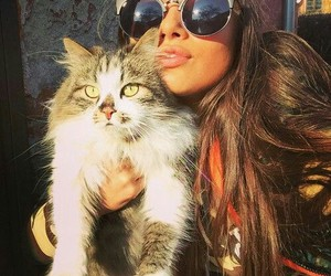 girl, cat, and love image