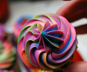 cupcake, food, and rainbow image
