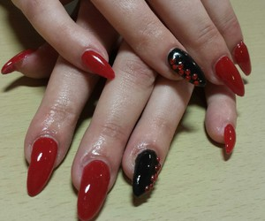 black, red, and nails image