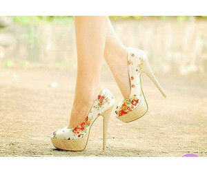 high heels, shoes, and flowers image