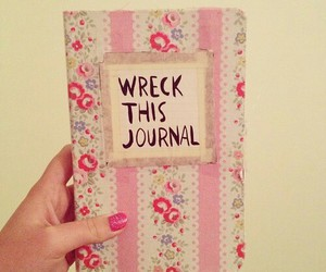 wreck this journal, book, and pink image