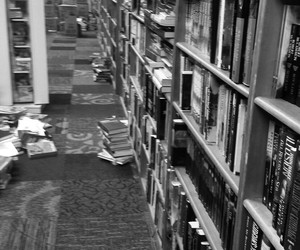 black and white, library, and books image