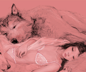 drawing, girl, and wolves image
