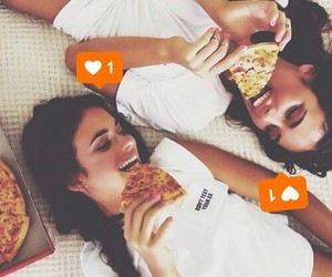 girls, pizza, and friends image