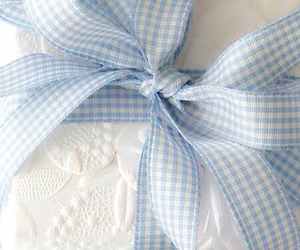 bow, blue, and gift image