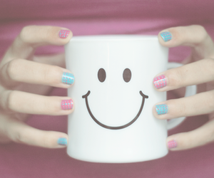 smile, nails, and cup image