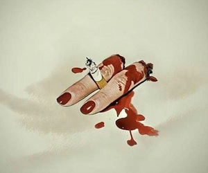 blood, cigarette, and fingers image