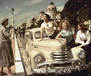 vintage, car, and woman image