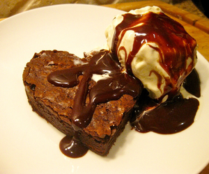 brownie, chocolate, and ice cream image