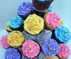 cake, colorful, and cupcake image