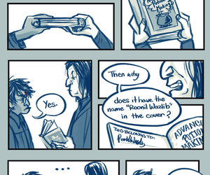 harry potter, severus snape, and book image