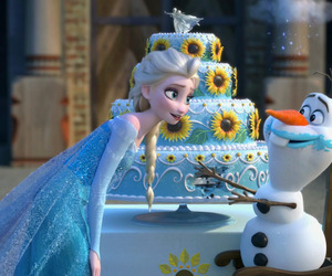 olaf, elsa, and disney image