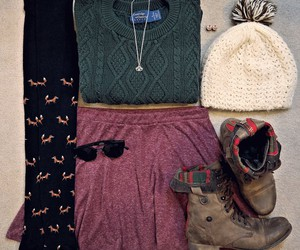 boho, boots, and knit sweater image