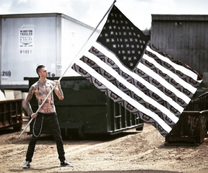black flag, lace up, and machine gun kelly image
