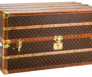 Louis Vuitton, wood trunk, and monogram canvas trunk image