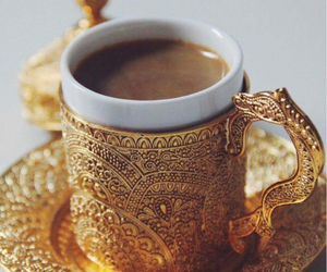 coffee, gold, and arabic image