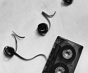 music, black and white, and tape image
