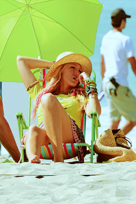 beach, hat, and blake lively image
