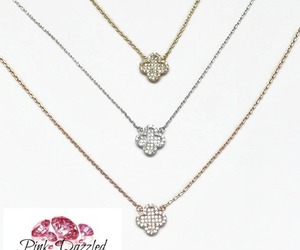 lucky necklace, pink dazzled, and clover pendant necklace image