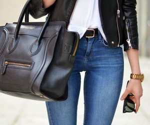 bag, basic, and black jacket image