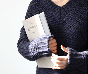 blue, blue sweater, and sweater image