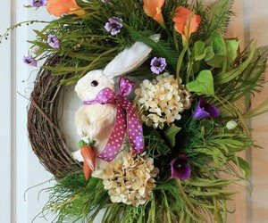 bunny, easter, and wreath image