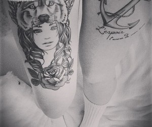 tattoo, black and white, and anchor image
