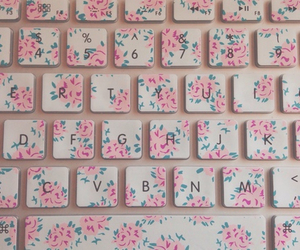 flowers, pink, and keyboard image