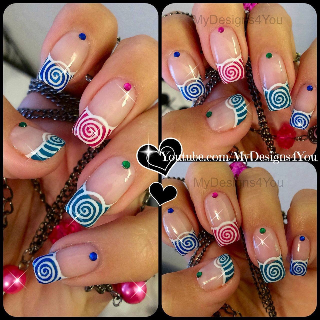 Spring Nail Art | Cute Multicoloured Spirals French