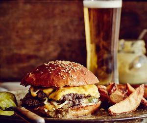 burger, food, and beer image
