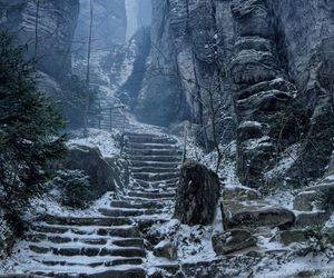 snow, stairs, and nature image