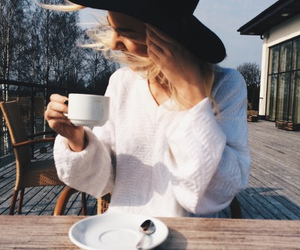 girl, coffee, and blue image