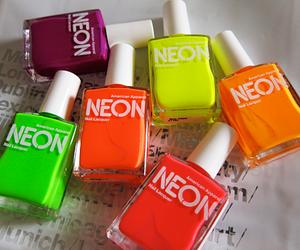 neon, nails, and nail polish image