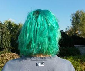 girl, green hair, and short hair image