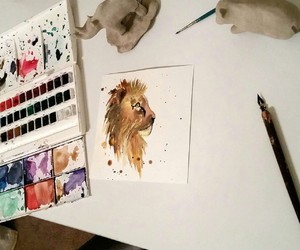 calligraphy, drawing, and lion image
