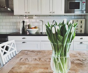 flowers, kitchen, and white image