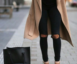 bag, coat, and heels image